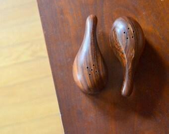 vintage mid-century modern don shoemaker rosewood elephant salt and pepper shakers