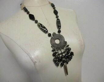 Vintage Roxsann Boho Tribal RUNWAY Chunky Beaded Signed Necklace
