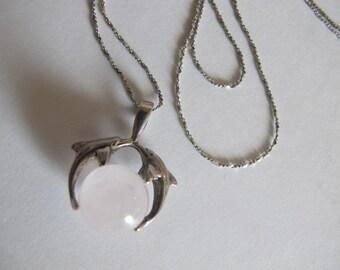 Vintage Sterling Silver Dolphin Quartz Pendant Necklace