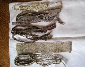 FREE SHIP Vintage Lot of 6 Different Gold Lame' Trims Edging Embellishment Bridal Dolls