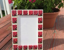 Poinsettia Postage Stamp Frame (Holds 4x6 photo)