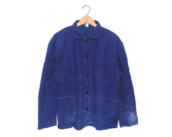 Vintage European Cobalt Blue Cotton Button Up Chore Coat - Medium