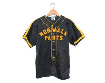 """Vintage Maple Mfg. Co. """"Norwalk Parts"""" #17 Black & Yellow Baseball Jersey Shirt Made in USA - Small (OS-AS-5)"""