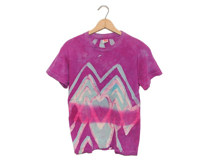 Vintage Handmade Heart Design Bright Teal & Purple Tie Dye 100% Cotton T-shirt - Medium (OS-TS-39)