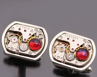 Silver Steampunk Cuff Links Mens Cuff Links Steampunk Cufflinks Mens Cufflinks Dragons Breath Opal