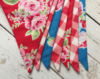 Summer Banner - Fabric Summer Bunting - Red, White, Blue Bunting