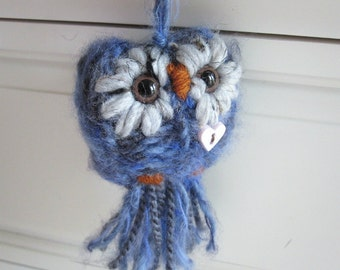 Blue Owl Knitted Ornament, Love Owl Christmas Decoration, Plush Woodland Ornament