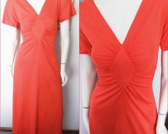 Vtg.70s Warm Red Diamond Waist Flutter Sleeve Maxi Dress.Small.Bust 32-34.Waist 25-28.