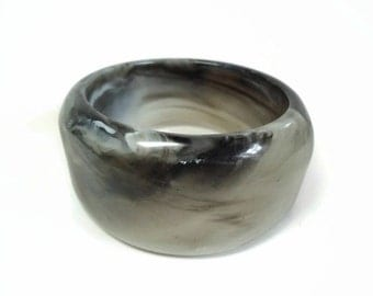 60's Chunky Lucite Bangle Bracelet with Translucent Marbled Black & Greys Motif - Vintage Circa 60s Costume Jewelry