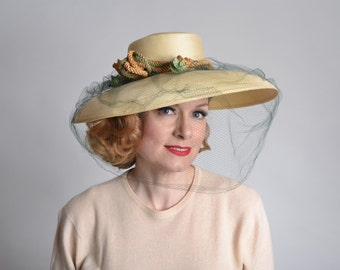 Vintage 1940s Gage Straw Hat - Veil Braided Detail - 1930s Kentucky Derby Fashions