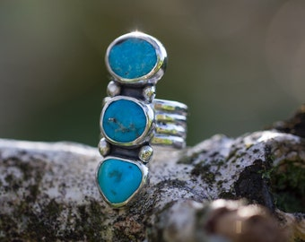 Triple Turquoise Sterling Silver Ring size 6.5