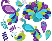 SALE Pretty Peacocks Cute Digital Clipart for Commercial or Personal Use, Peacock Clipart, Peacock Graphics, Teal Purple Peacock Clip Art
