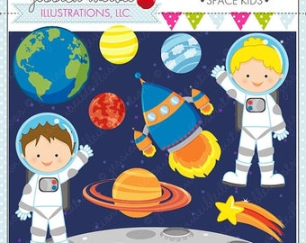 SALE Space Kids Cute Digital Clipart for Card Design, Scrapbooking, and Web Design, Astronaut Clipart, Space Graphics
