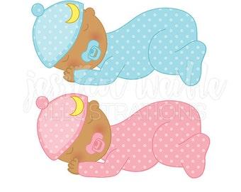 Dark Skin Sweet Dreams Baby Cute Digital Clipart, Sleeping Baby Clip art, Baby Graphics, Sleeping Baby Illustration, #495