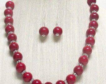 "22"" Deep Red Chunky Necklace Set"