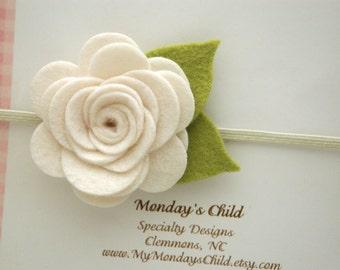 Ivory Felt Flower Headband, Felt Baby Headband, Ivory Baby Headband, Ivory Flower Headband, Newborn Headband, Baby Headband Toddler Headband