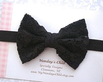 Black Lace Bow Headband, Black Bow Headband, Black Bow, Lace Bow, Baby Headband, Toddler Headband, Toddler Bow, Girls Bow