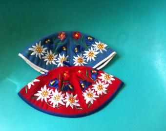 Embroidered Vintage Beanies Yarmulkes Blue Red Flowers