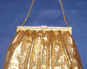 Vintage WHITING & Davis Gold Metal Mesh Purse with Rhinestones