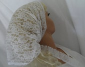 RESERVED for JANET,  ON Hold,    white lace head covering