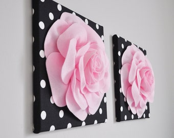 Home Decor Wall Art, Light Pink and Black Rose Flower Burst Art, Bathroom Wall Decor, Pink Bedroom Decor - Polka Dot Nursery Wall Hangings