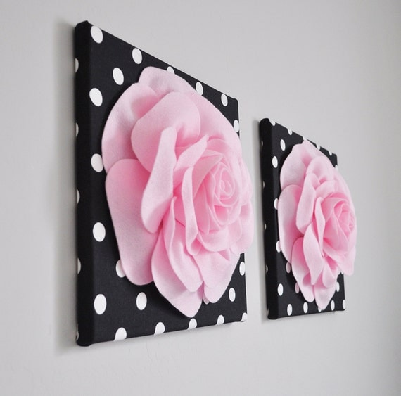 Home Decor Wall Art Light Pink and Black Rose Flower Burst
