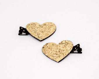 Gold Glitter Heart Hair Clips, Heart Clips, Heart Hair Clips, Gold Heart Hair Clips
