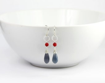 Chalcedony Red Coral Sterling Silver Dangle Earrings