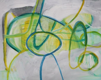 abstract original painting / acrylic on paper / spring colours / pastel light tones