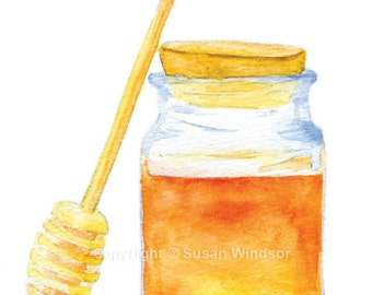 Honey Jar Watercolor Painting Giclee Print 8x10 / 8.5x11