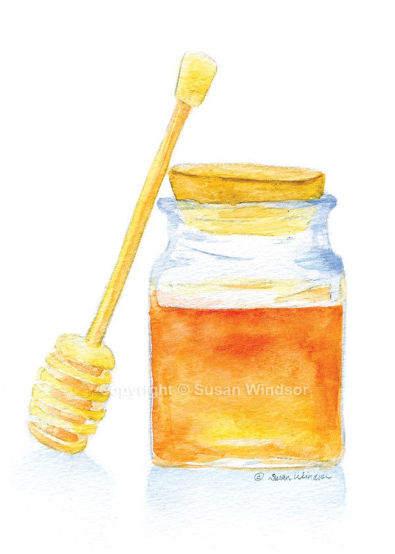 Honey Jar Watercolor Painting Giclee Print 8x10 / 8.5x11