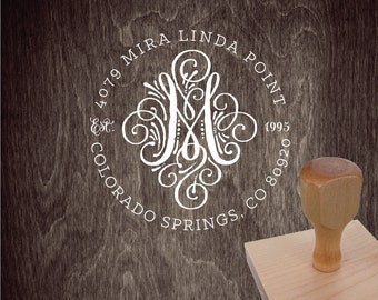 Return Address Stamp – 1.5 in CALLIGRAPHY SEAL INITIAL Monogram Personalized Wedding Paper Goods