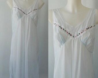 Vintage 1960s Sheer Blue Nightgown, Vintage Nightgown, 1960s Nightgown, Romantic, Sheer Nightgown, Vintage Lingerie, Slips