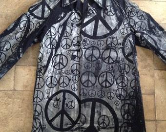 Vintage 80's Handpainted Peace sign Trench coat Rain coat Jacket.M.Baker
