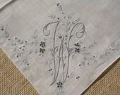 Vintage Hankie Monogrammed Wedding Handkerchief W Gray White Flowers