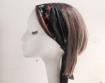kimono, vintage kimono, headscarf, Headband, fabric head wrap, black, red, blue, summer headband, resort head wrap