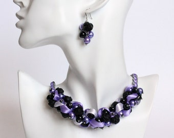 Purple Lavender Black Rose Cluster Necklace and Earring Set