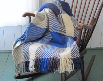 Coastal Beach Decor Ocean Blue Plaid Woven Wool Couch Throw Blanket, Rustic Country Cabin Home Decor, Nautical Hand Woven Throw Wool Blanket