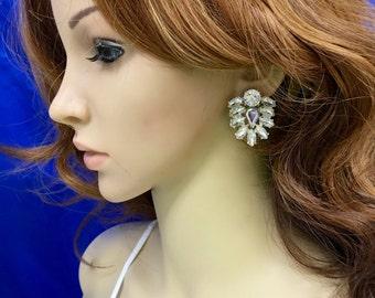 Statement Rhinestone Earrings, Statement Bridal Earrings, Statement Wedding Earrings, Statement Crystal Earrings, Bridal Rhinestone Earrings