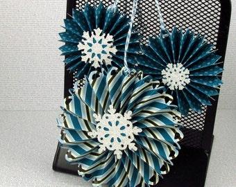 Christmas Ornaments or Gift Tags Handmade Hanging Holiday Rosettes Pinwheels Christmas Tree Ornaments