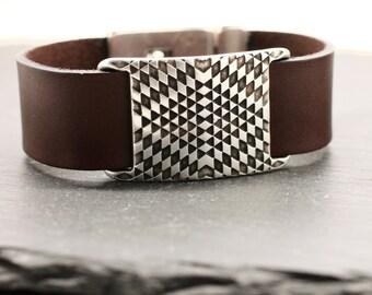 Leather Bracelet Psychedelic Bracelet Leather Bangle Silver Bracelet Mens Bracelet Statement Bracelet Silver Cuff Leather Cuff Under 50