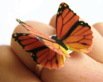 Monarch Butterfly Jewelry - Eco Friendly Jewelry - Recycled Paper Monarch Jewelry - Butterfly Wings Jewelry - 3D Monarch Butterfly Ring