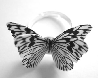 Silver Statement Ring For Women - Paper Anniversary Gift for Her - Zebra Print Jewelry - Black And White Stripe Butterfly Ring Adjustable