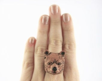 Grizzly Bear Ring - Forest Ring - Woodland Animal Jewelry - Native American Bear Jewelry - Womens Mens Animal Ring - Woodland Ring Fairy