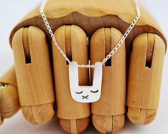 Bunny Rabbit Woodland Necklace Pendant Sterlung Silver