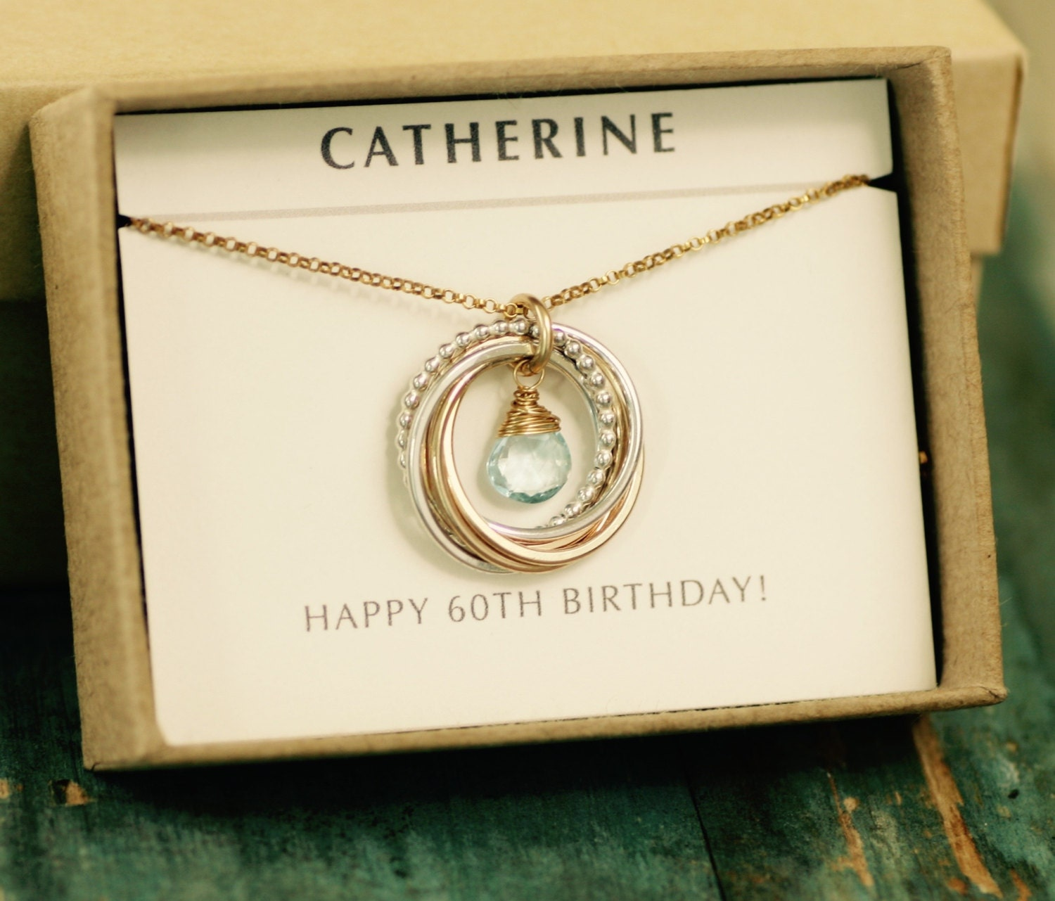 14 60th Birthday T For Mom Necklace Her Blue Topaz
