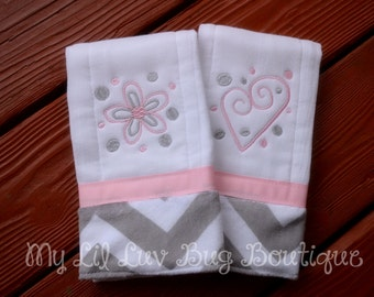 Burp cloth set prefold diaper- baby pink with grey and white chevron print- set of two