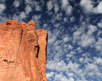 Garden of the Gods and Blue Sky Over Colorado Spring at Sunrise (color photograph, various sizes)