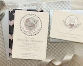 Wedding Invitations, Deco Wedding Invitations, Blush Wedding, Vintage Style Invitations, Wedding Invitation Set, Romantic, Hither Green