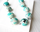 Artsy Necklace, Grey Jewelry, Turquoise, Teal, Black, Vintage Beads, Beaded, Funky, Statement, Painted Look, Retro Chic